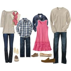 Pink and Navy Family Outfits