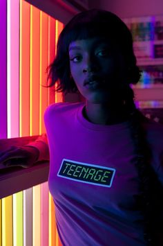 This teenage shirt is total style inspiration. I love the neon lighting in this photo because it totally sets the mood for this retro style