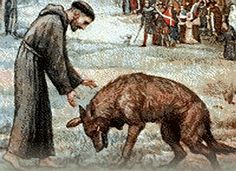 St. Francis of Assisi and the Wolf of Gubbio.