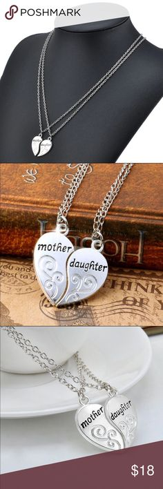 2pcs/1Set Fashion Mother Daughter Heart Necklace Brand new Jewelry Necklaces