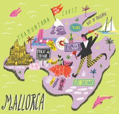 Travel infographic Map of Mallorca for Jamie Magazine Daniel Gray Travel Maps, Travel Posters, Travel Album, Travel Journals, City Illustration, Character Illustration, Tenerife, Funny Maps, Country Maps