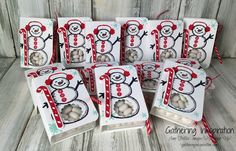 tic tac holders, snowman tic tac holders, stocking stuffers, handmade treats, party favors, snowman, red & white, DIY, demonstrator, paper crafting, hobby, easy, quick, rubber, stamps, stamping, craft, paper, *Stampin' Up, by Amy Frillici, Gathering Inkspiration, order products online at amysuzanne.stampinup.net