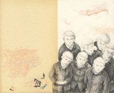 "Joanna Concejo illustration for ""The Wild Swans"". Sketchbook Inspiration, Art Sketchbook, Collage Art, Collages, Moleskine, Artist Journal, Arte Horror, Children's Book Illustration, Gouache"
