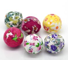 """2015 New 20PCs Mixed Handmade Woven Cloth Acrylic Round Beads 20mm(6/8"""") Dia. Free Shipping-in Beads from Jewelry on Aliexpress.com   Alibaba Group"""