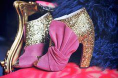 Miu Miu Glitter & Suede Booties, Pink Bow