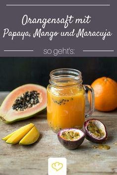 Es geht doch nichts über einen frisch gepressten Saft! Dieser hier ist dank Orange, Mango, Passionsfrucht und Papaya eine echte Vitaminbombe!