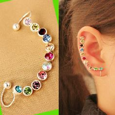 Rainbow Rhinestone Wrapping Ear Cuff (Single,Adjustable,No Piercing) | LilyFair Jewelry, $10.99!