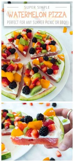 Watermelon Pizza Dessert Recipe topped with yogurt and fruit toppings. Summer desserts make every BBQ better, especially when it's a fruit pizza! Celebrate Summer Series Practically Functional for Tod (Vegan Bbq Pizza) Fruit Recipes, Summer Recipes, Dessert Recipes, Pizza Recipes, Bbq Desserts, Skillet Recipes, Summer Ideas, Vegan Recipes, Yogurt Dessert