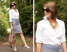 "What I Wore: Gray pencil skirt, white blouse, white ""pearl"" cluster necklace, tan or gray pumps."