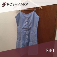 SALE-[nwt] blue Linen button down dress Too many dresses of similar style- this one size tag says L, but fits size 4/S  best. Anthropologie Dresses Mini