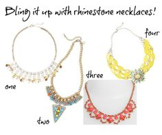 A round up of affordable rhinestone necklaces and earrings
