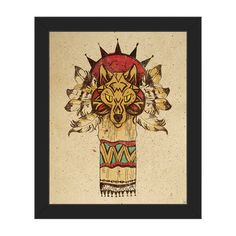 """Click Wall Art Wolf Totem Framed Graphic Arton Canvas Frame Color: Black, Size: 16.5"""" H x 13.5"""" W x 1"""" D"""