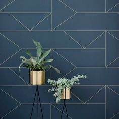 Lines Wallpaper - Dark Blue design by Ferm Living Upgrade your walls with this elegant wallpaper inspired by classic Art Deco. Delicate golden lines create a subtle pattern, adding an exclusive touch Lines Wallpaper, Cool Wallpaper, Ferm Living Wallpaper, Blue Wallpaper Bedroom, Blue Geometric Wallpaper, Dark Blue Wallpaper, Wallpaper Roll, Pattern Wallpaper, Art Deco Wallpaper