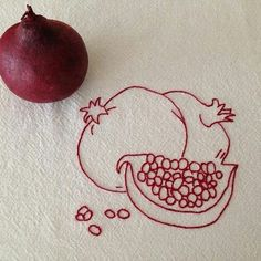 Items similar to Pomegranate Kitchen Toewl, Redwork, Hand Embroidered on Etsy Do It Yourself Mode, Pomegranate Tattoo, Embroidery Patterns, Hand Embroidery, Illustration, Future Tattoos, Body Art Tattoos, Tatting, Tattoo Designs
