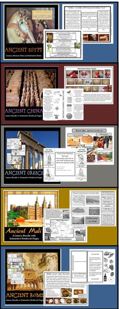 5 Ancient Civilization units (Egypt, China, Greece, Rome, Mali) 277 pages and growing. Art projects, interactive notes, foldables, tests, and more!