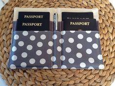 Porte-passeport famille, couverture de passeport de Chevron, détient 4 passeports, voyages internationaux, les pois gris Chevron doublure, accessoire de voyage
