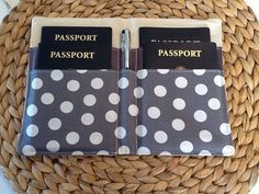 Family Passport Holder, Chevron Passport Cover, Deluxe Passport Wallet, Holds 4 Passports, Gray Chevron Polka Dot Lining, Travel Accessory