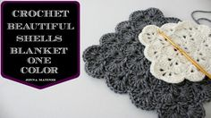 In this video I will teach you how to crochet the beautiful shells blanket pattern in one color. I used an H.5.00MM crochet hook and a Red Heart super saver ...