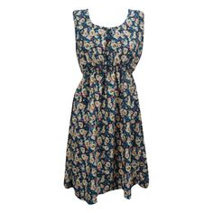 Mogul Womens Sleeveless Dress Floral Print Blue Boho Chic Dresses    https://www.walmart.com/search/?cat_id=0&grid=true&page=3&query=mogul+interior+dress+#searchProductResult