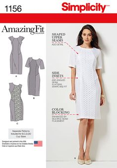 1156 This Amazing fit Dress for miss and miss plus has option of contrast panels and sleeve lengths. Non stretch material SewingPatterns.com