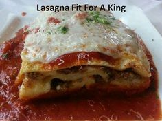 LASAGNA Fit For A King!!   INGREDIENTS:  1 pound sweet Italian sausage... 3/4 pound lean ground beef 1/2 cup minced onion 2 cloves garlic, crushed 1 (28 ounce) can crushed tomatoes 2 (6 ounce) cans tomato paste 2 (6.5 ounce) cans canned tomato sauce 1/2 cup water 2 tablespoons white sugar 1 1/2 teaspoons dried basil leaves 1/2 teaspoon fennel seeds 1 teaspoon Italian seasoning 1 tablespoon salt 1/4 teaspoon ground black pepper 4 tablespoons chopped fresh parsley 12 lasagna noodles 16 ounces…