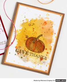 Give Thanks by Mariana Grigsby for Hero Arts thanksgiving CAS card embossing watercolor