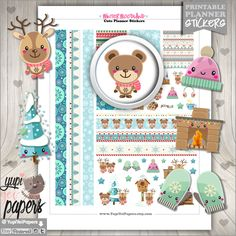 Winter Stickers, Planner Stickers, Kawaii Stickers, Planner Accessories, Winter Wonderland, Christmas Stickers, Erin Condren