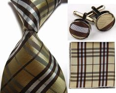 Gold & Brown Striped  Tie Cufflinks Hanky Handkerchief Set