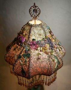 Embroidered lamp shade