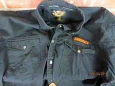 Harley-davidson men's black garage SHIRT snap harley button front XXL #HarleyDavidson #ButtonFront Men's Shirts, Casual Shirts, Denim Button Up, Button Up Shirts, Cool Shirts For Men, Harley Davidson, Cool Designs, Garage, Fabric