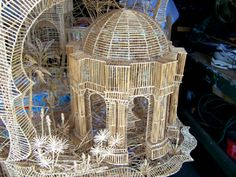 """The Palace of Fine Arts"" section of ""Rolling Through the Bay"" toothpick sculpture of San Francisco, CA, by Scott Weaver."