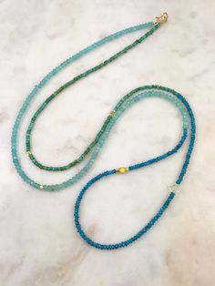 Turquoise with dark and light apatite necklace, long