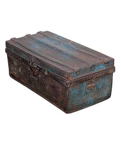 Take a look at this Rustic Green Flat Top Vintage 1950s Iron Traveler's Storage Trunk on zulily today!