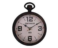 Orologio da parete in ferro e vetro Conciergerie nero, 20x28x5 cm