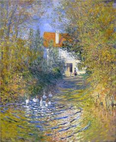 Geese in the creek - Claude Monet. Monet is so recognizable. Monet Paintings, Impressionist Paintings, Paintings I Love, Beautiful Paintings, Landscape Paintings, House Paintings, Claude Monet, Renoir, Artist Monet