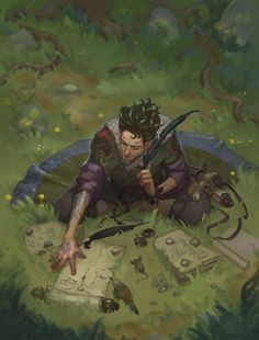 With curious animals around him the half elven Elleshar Olaatoris, a mage mainly skilled in the body, craft and sound lores, writes down ideas in his research in the animal lore.