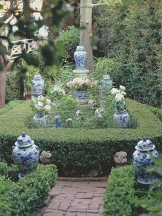 Take your blue and white collection outside and decorate the garden