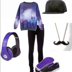 Galaxy outfit with Beats to match. Super cute.