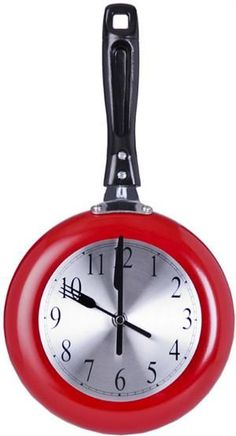 Red Frying Pan Wall Clock. This red kitchen wall clock is made from a real sauté pan :)