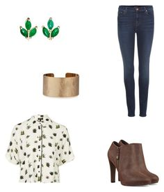 """""""Stay green"""" by destinyl734 ❤ liked on Polyvore featuring J Brand, Topshop, Nine West, Panacea and Finn"""
