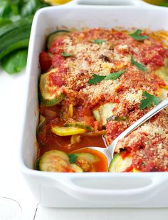 of zucchini, summer squash, tomatoes, herbs, and Parmesan cheese ...