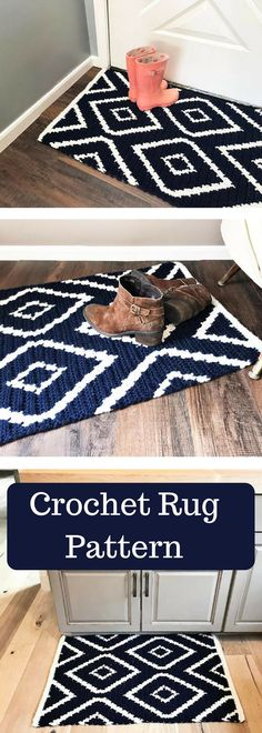 CROCHET PATTERN, Crochet Rug Pattern, Diamond Crochet Rug Pattern, Crochet, Patterns and Tutorials, Home Décor Crochet - Pattern is Available for Download After Purchase #ad