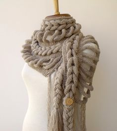 New Rapunzel Wool Scarf-Milky Brown-Fall Fashion ~ I'm wondering if I can devise a crochet version. Crochet Scarves, Knit Crochet, Knitting Projects, Crochet Projects, Knitting Patterns, Crochet Patterns, Knitting Club, Cable Knitting, Knitting Accessories