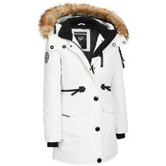 Noize 3/4 Length Parka w/ Zipper Detail and Large FauxFur Hood ($180) ❤ liked on Polyvore featuring outerwear, coats, faux fur hood parka, hooded coat, white parka, water resistant parka and white parka coat