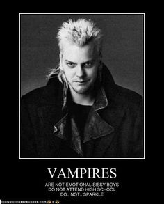 VAMPIRES...don't get me wrong, I love Twilight, but this is funny and The Lost Boys were my first vamps!