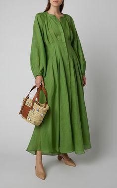 Valeraine Pleated Ramie Midi Dress by Three Graces London Modest Dresses, Simple Dresses, Casual Dresses, Fashion Dresses, Summer Dresses, Fashion Tips For Women, Womens Fashion, Mode Hijab, Chic Dress
