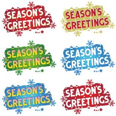 """This is set of 6 decorated greeting graphics with the greeting text """"Season's Greetings"""" that can be used for banners, posters, greeting cards and invitations, educational materials, as classroom décor, for bulletin boards, etc., etc. ***** Commercial use is allowed. *****"""
