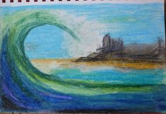 Island Wave by Darla Vaughan Oil Pastel Painting Ocean Waves Fine Art Drawing Surfing Seascape Unmatted Unframed Underwater Surf Surfer Sea by LoveStreetUSA on Etsy