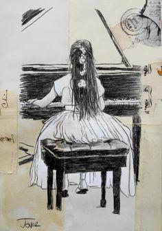 "Saatchi Art Artist Loui Jover; Drawing, ""the little prodigy ...........(a study)"" #art"