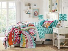 I love the PBteen Beadboard Hibiscus Bedroom on pbteen.com - love the floral and geometirc